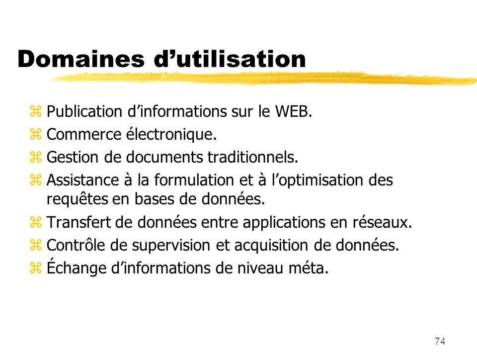 74 Domaines dutilisation zPublication dinformations sur le WEB. zCommerce électronique. zGestion de documents traditionnels. zAssistance à la formulat