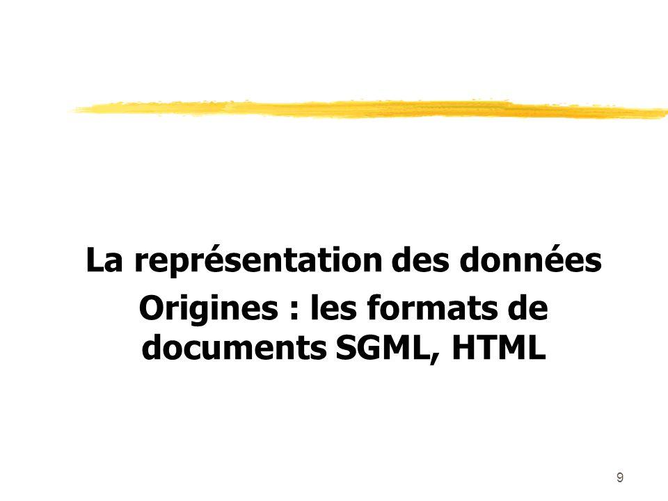 10 SGML (Standard Generalized Markup Language) - 1986 zUn langage de balisage très général pour définir des documents électroniques, indépendants de la forme visualisée.