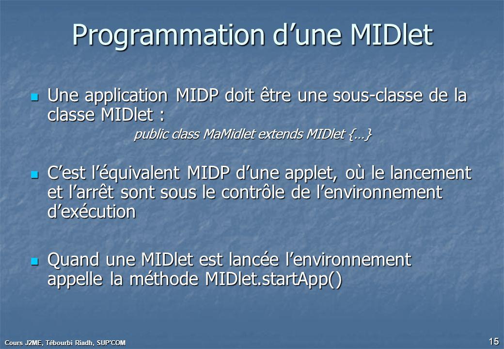 Cours J2ME, Tébourbi Riadh, SUP'COM 15 Programmation dune MIDlet Une application MIDP doit être une sous-classe de la classe MIDlet : Une application