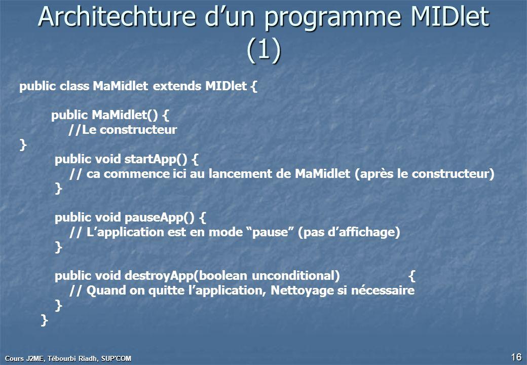 Cours J2ME, Tébourbi Riadh, SUP'COM 16 Architechture dun programme MIDlet (1) public class MaMidlet extends MIDlet { public MaMidlet() { //Le construc