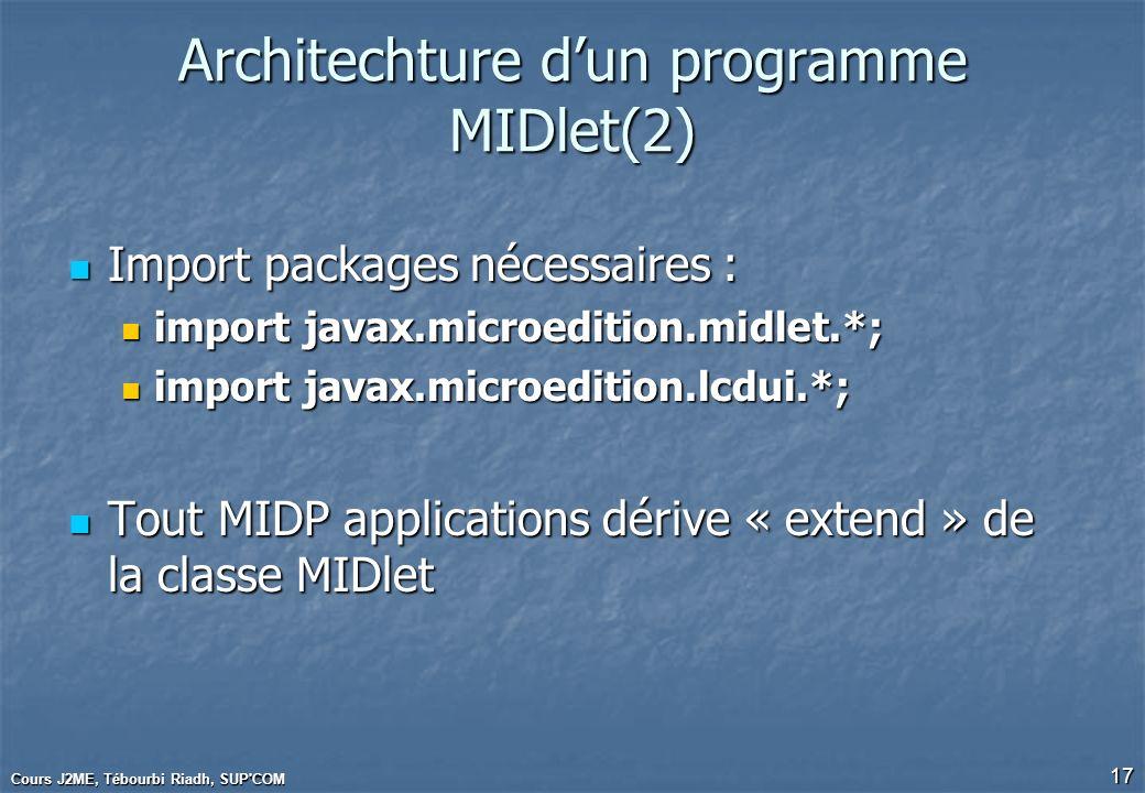 Cours J2ME, Tébourbi Riadh, SUP'COM 17 Architechture dun programme MIDlet(2) Import packages nécessaires : Import packages nécessaires : import javax.
