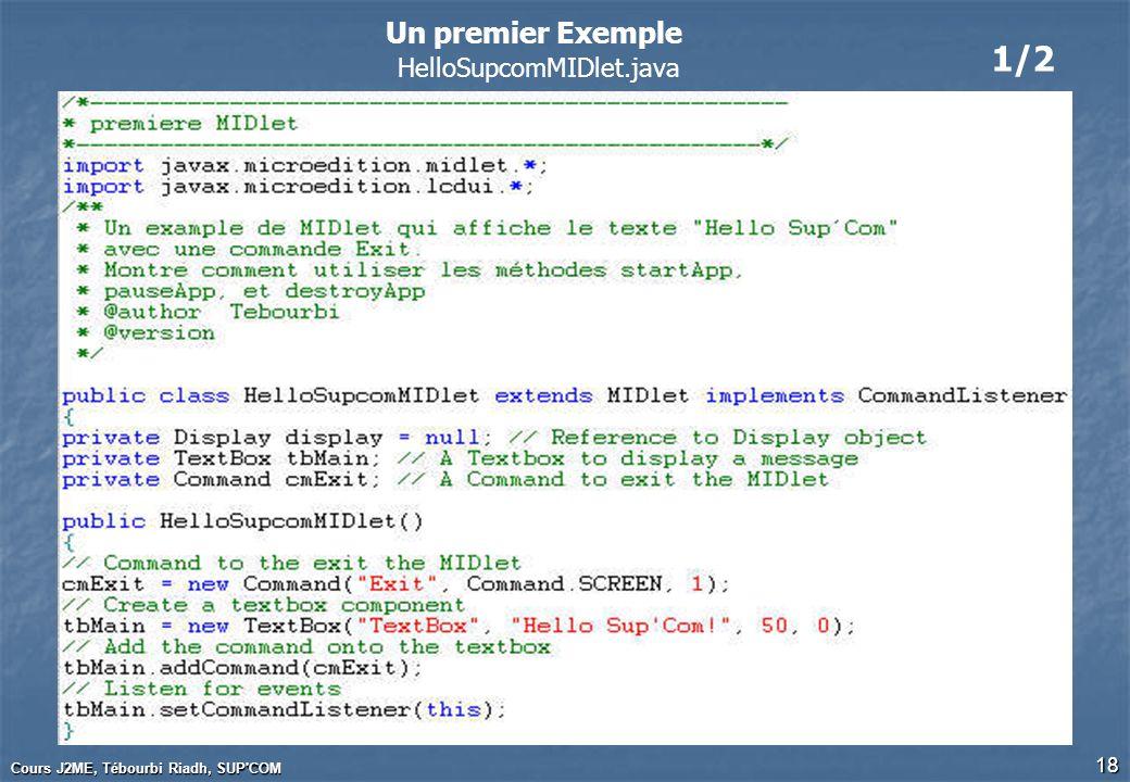 Cours J2ME, Tébourbi Riadh, SUP'COM 18 1/2 Un premier Exemple HelloSupcomMIDlet.java