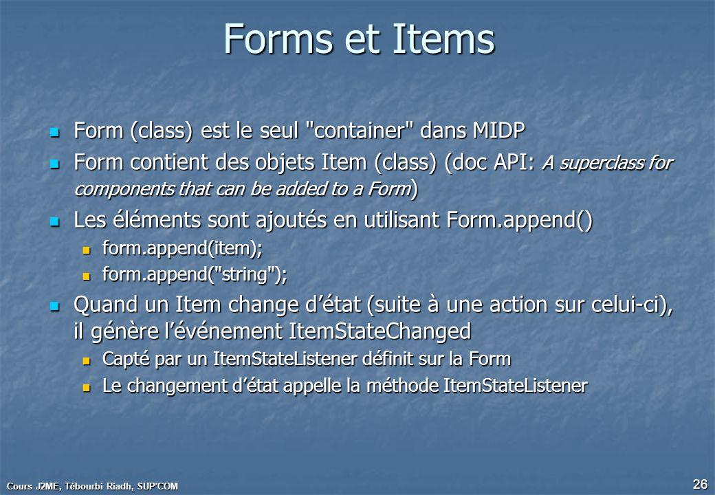 Cours J2ME, Tébourbi Riadh, SUP'COM 26 Forms et Items Form (class) est le seul