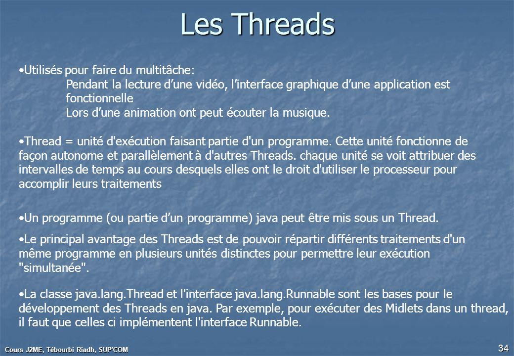 Cours J2ME, Tébourbi Riadh, SUP'COM 34 Les Threads Utilisés pour faire du multitâche: Pendant la lecture dune vidéo, linterface graphique dune applica