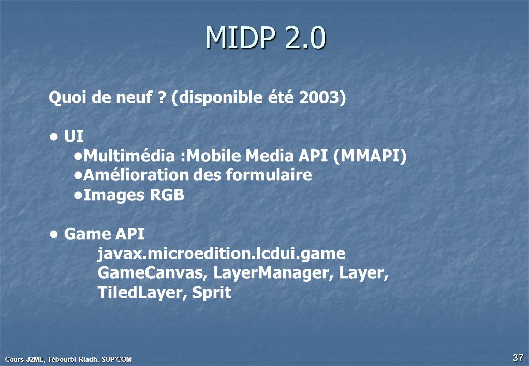 Cours J2ME, Tébourbi Riadh, SUP'COM 37 MIDP 2.0 Quoi de neuf ? (disponible été 2003) UI Multimédia :Mobile Media API (MMAPI) Amélioration des formulai