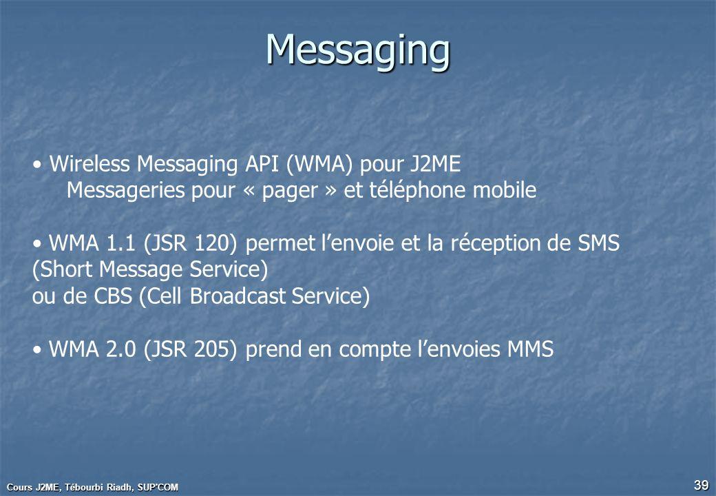 Cours J2ME, Tébourbi Riadh, SUP'COM 39 Messaging Wireless Messaging API (WMA) pour J2ME Messageries pour « pager » et téléphone mobile WMA 1.1 (JSR 12