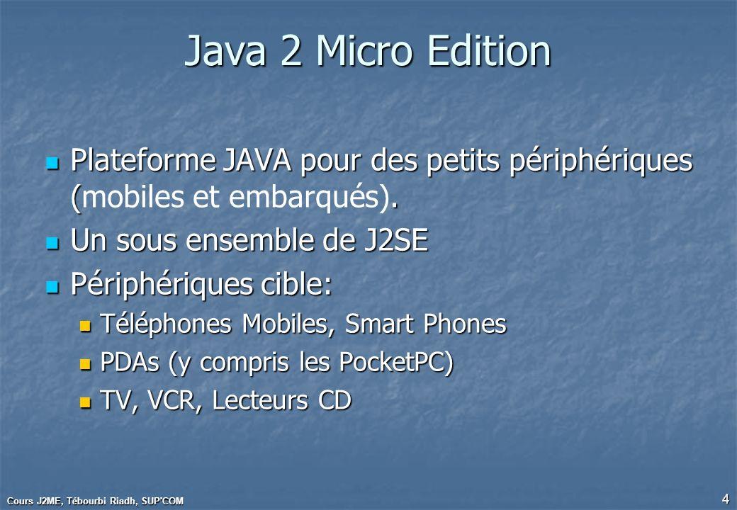 Cours J2ME, Tébourbi Riadh, SUP COM 15 Programmation dune MIDlet Une application MIDP doit être une sous-classe de la classe MIDlet : Une application MIDP doit être une sous-classe de la classe MIDlet : public class MaMidlet extends MIDlet {…} Cest léquivalent MIDP dune applet, où le lancement et larrêt sont sous le contrôle de lenvironnement dexécution Cest léquivalent MIDP dune applet, où le lancement et larrêt sont sous le contrôle de lenvironnement dexécution Quand une MIDlet est lancée lenvironnement appelle la méthode MIDlet.startApp() Quand une MIDlet est lancée lenvironnement appelle la méthode MIDlet.startApp()
