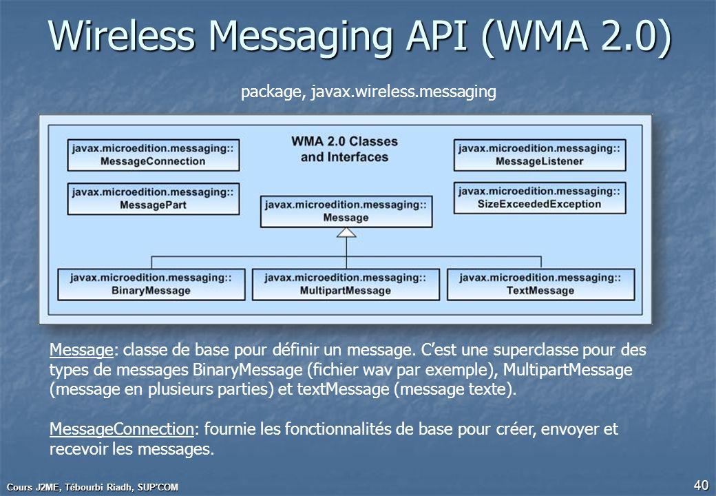 Wireless Messaging API (WMA 2.0) Cours J2ME, Tébourbi Riadh, SUP'COM 40 Message: classe de base pour définir un message. Cest une superclasse pour des