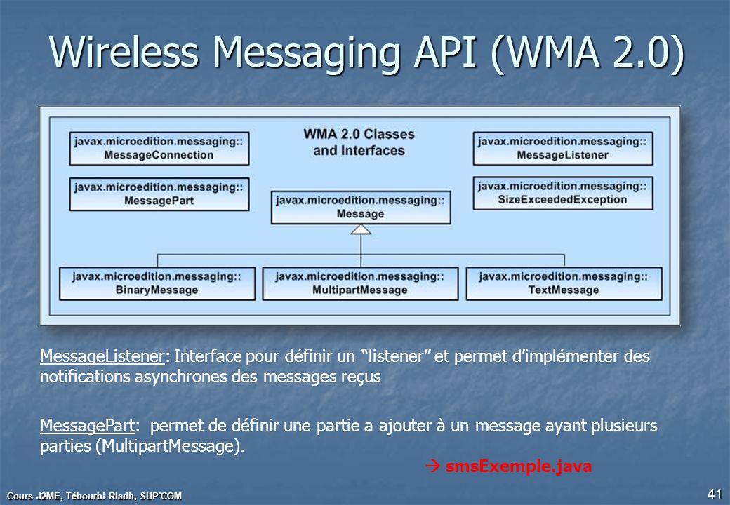 Wireless Messaging API (WMA 2.0) Cours J2ME, Tébourbi Riadh, SUP'COM 41 MessageListener: Interface pour définir un listener et permet dimplémenter des