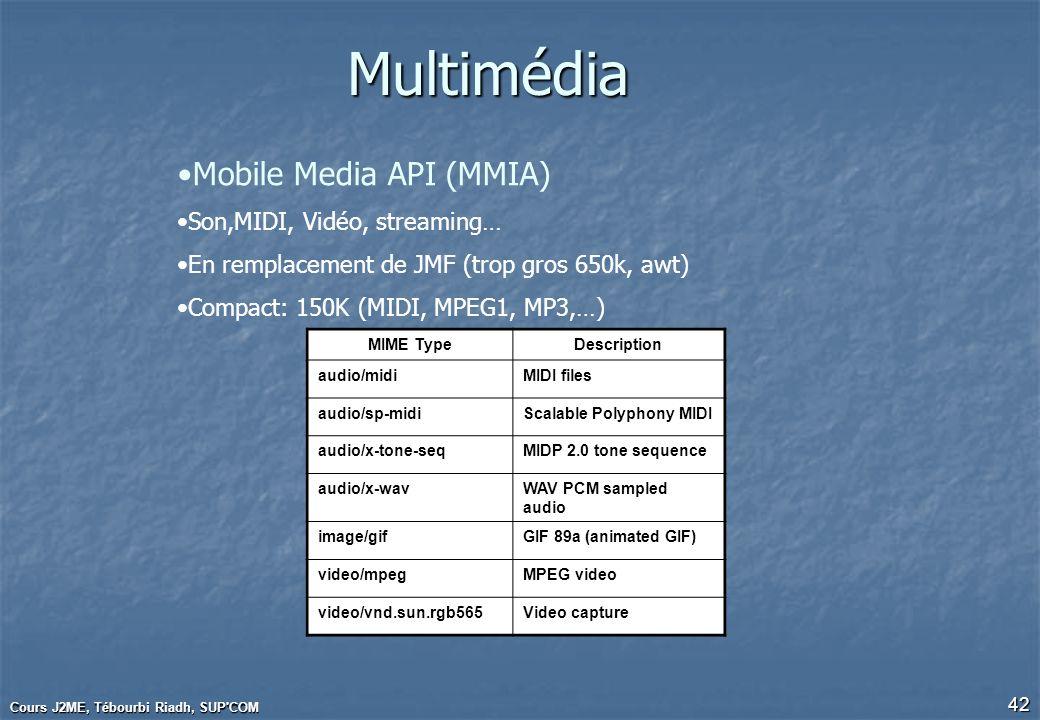 Cours J2ME, Tébourbi Riadh, SUP'COM 42Multimédia Mobile Media API (MMIA) Son,MIDI, Vidéo, streaming… En remplacement de JMF (trop gros 650k, awt) Comp