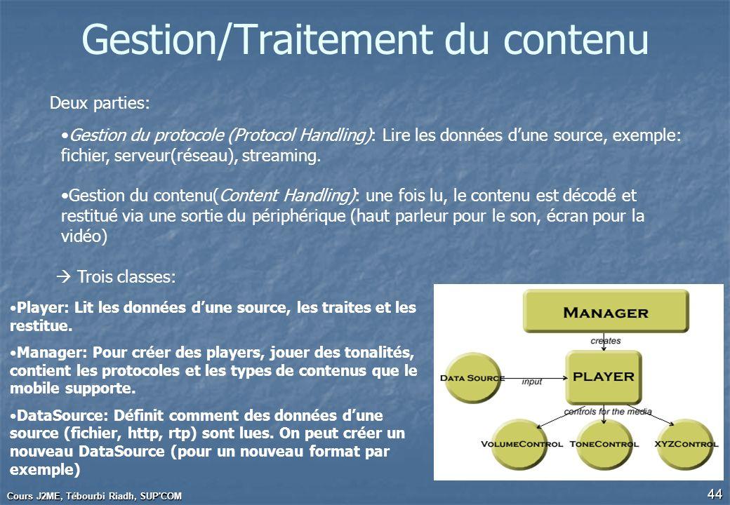 Cours J2ME, Tébourbi Riadh, SUP'COM 44 Gestion/Traitement du contenu Deux parties: Gestion du protocole (Protocol Handling): Lire les données dune sou