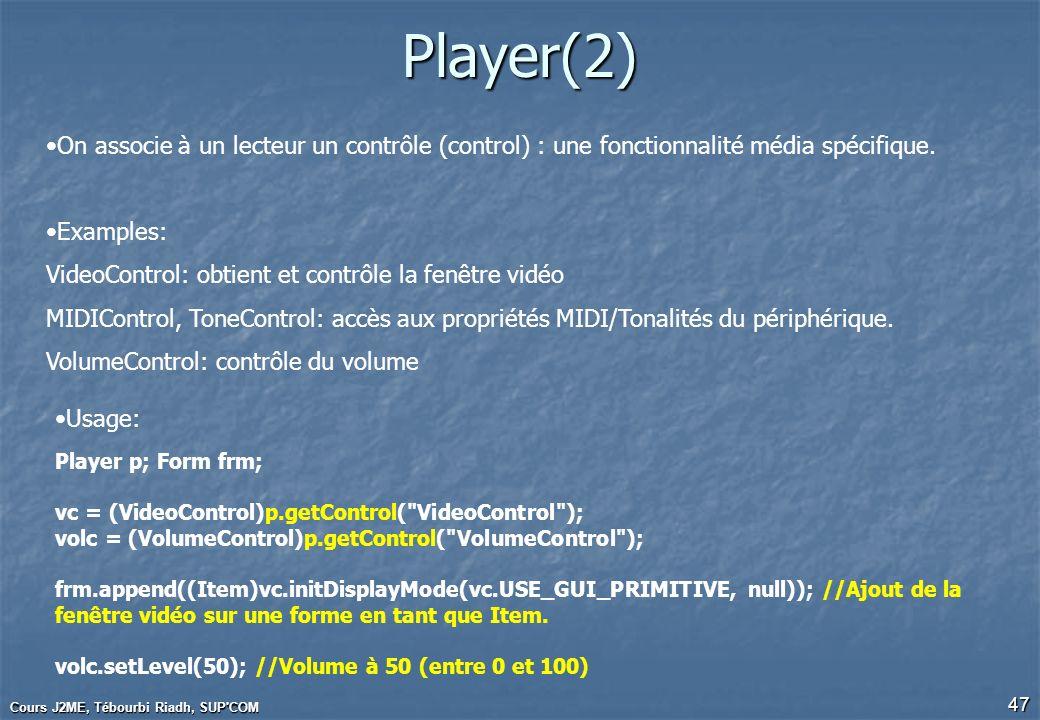Cours J2ME, Tébourbi Riadh, SUP'COM 47 Player(2) On associe à un lecteur un contrôle (control) : une fonctionnalité média spécifique. Examples: VideoC