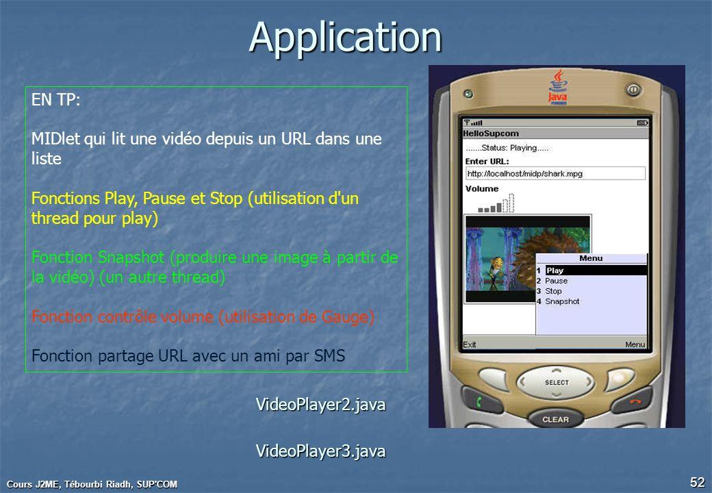 Cours J2ME, Tébourbi Riadh, SUP'COM 52Application EN TP: MIDlet qui lit une vidéo depuis un URL dans une liste Fonctions Play, Pause et Stop (utilisat