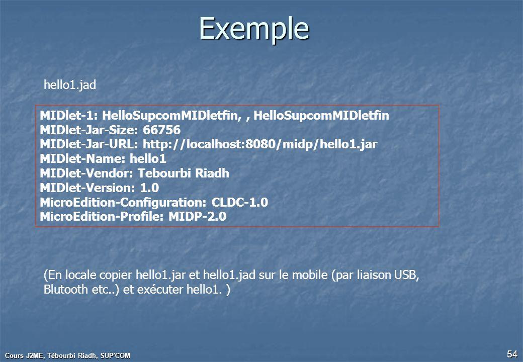 Cours J2ME, Tébourbi Riadh, SUP'COM 54 Exemple MIDlet-1: HelloSupcomMIDletfin,, HelloSupcomMIDletfin MIDlet-Jar-Size: 66756 MIDlet-Jar-URL: http://loc