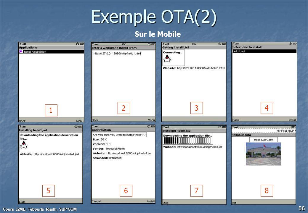 Cours J2ME, Tébourbi Riadh, SUP'COM 56 Exemple OTA(2) Sur le Mobile 1 234 5678
