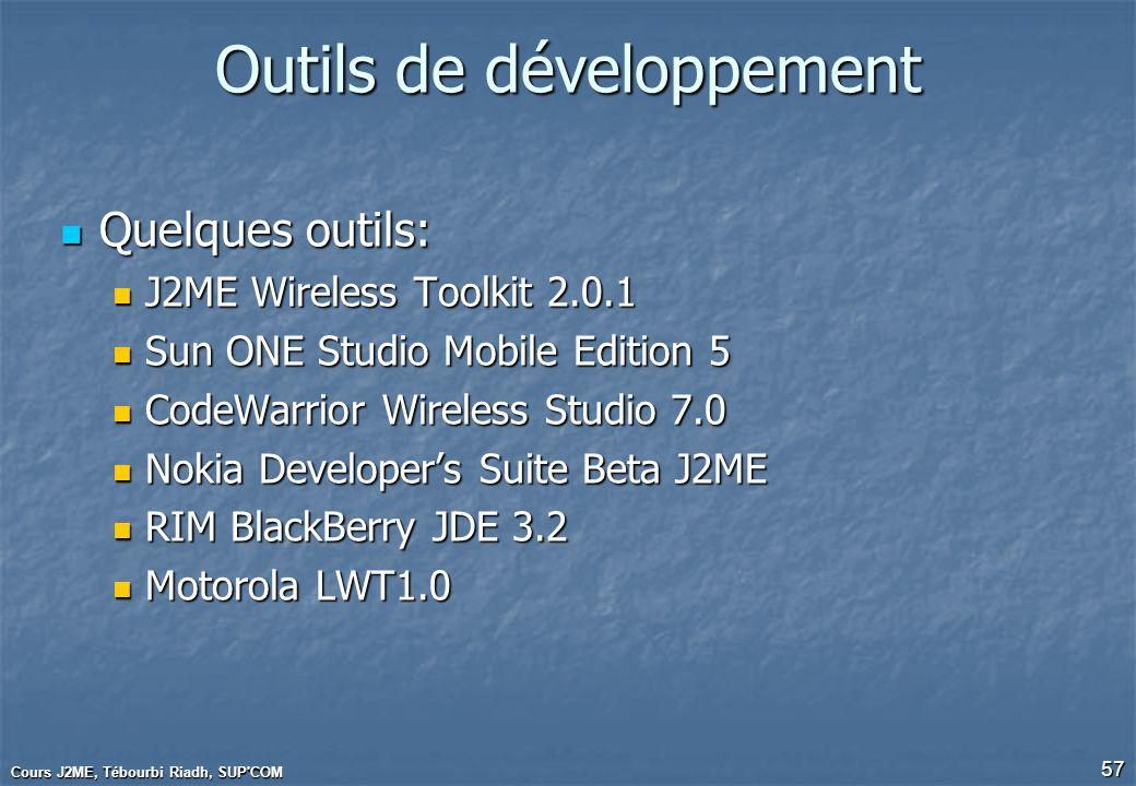 Cours J2ME, Tébourbi Riadh, SUP'COM 57 Outils de développement Quelques outils: Quelques outils: J2ME Wireless Toolkit 2.0.1 J2ME Wireless Toolkit 2.0