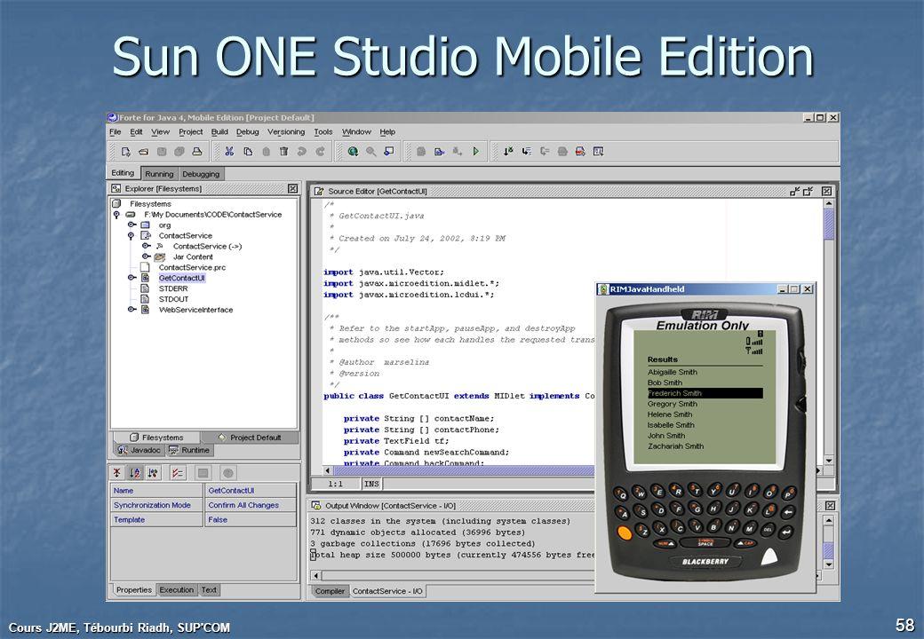 Cours J2ME, Tébourbi Riadh, SUP'COM 58 Sun ONE Studio Mobile Edition