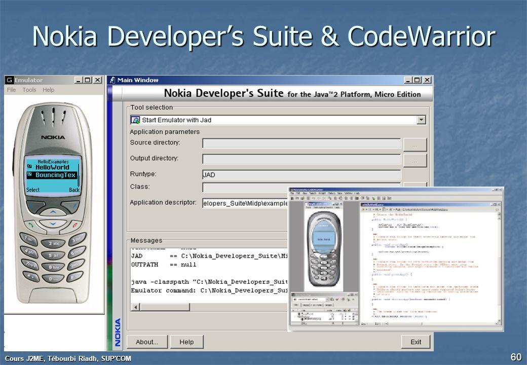 Cours J2ME, Tébourbi Riadh, SUP'COM 60 Nokia Developers Suite & CodeWarrior