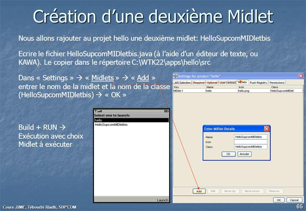 Cours J2ME, Tébourbi Riadh, SUP'COM 65 Création dune deuxième Midlet Nous allons rajouter au projet hello une deuxième midlet: HelloSupcomMIDletbis Ec