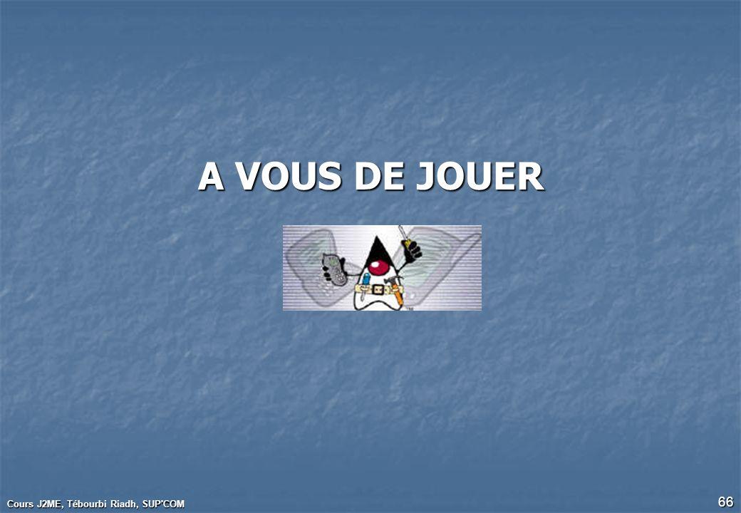 Cours J2ME, Tébourbi Riadh, SUP'COM 66 A VOUS DE JOUER