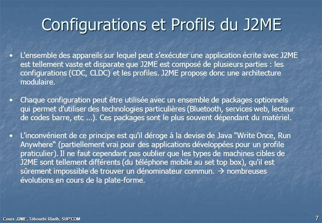 Cours J2ME, Tébourbi Riadh, SUP COM 38 MIDP 2.0 Sécurité HTTPS PKI (Certificats) JAR signé La signature et la clé publique sont ajoutés au JAD Permissions Nouvelles entrées du JAD : MIDIet-Permissions, MIDIet-Permissions-Op Lancement Push de MIDLet sur des demandes entrantes de connexions réseaux L entrée MIDlet-Push- du JAD précise: lURL local de connection URL la classe de la MIDLet ladresse IP de la machine autorisée à lancer un push Exemple : MIDIet-Push-1: socket://:76, exemple.PushLet.