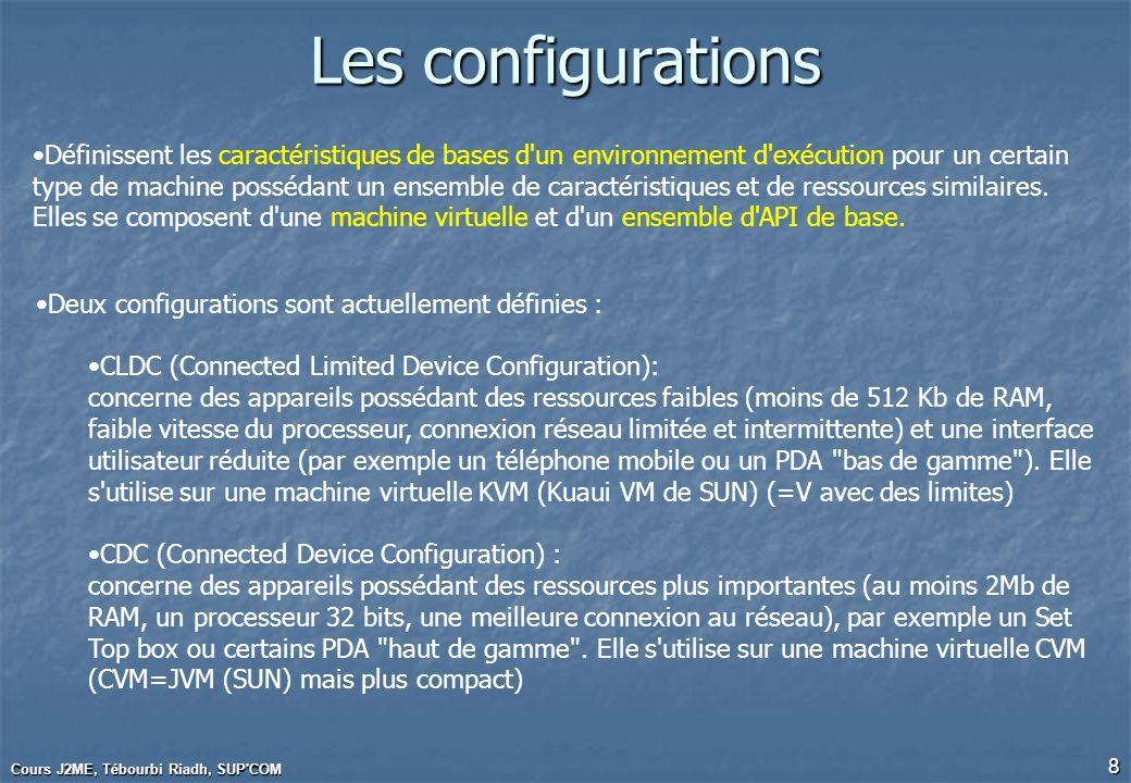 Cours J2ME, Tébourbi Riadh, SUP'COM 8 Les configurations Définissent les caractéristiques de bases d'un environnement d'exécution pour un certain type