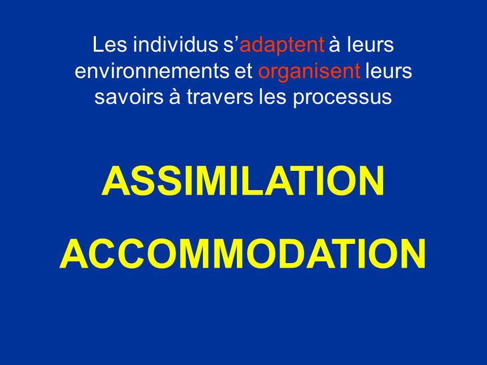 ASSIMILATION ACCOMMODATION Les individus sadaptent à leurs environnements et organisent leurs savoirs à travers les processus