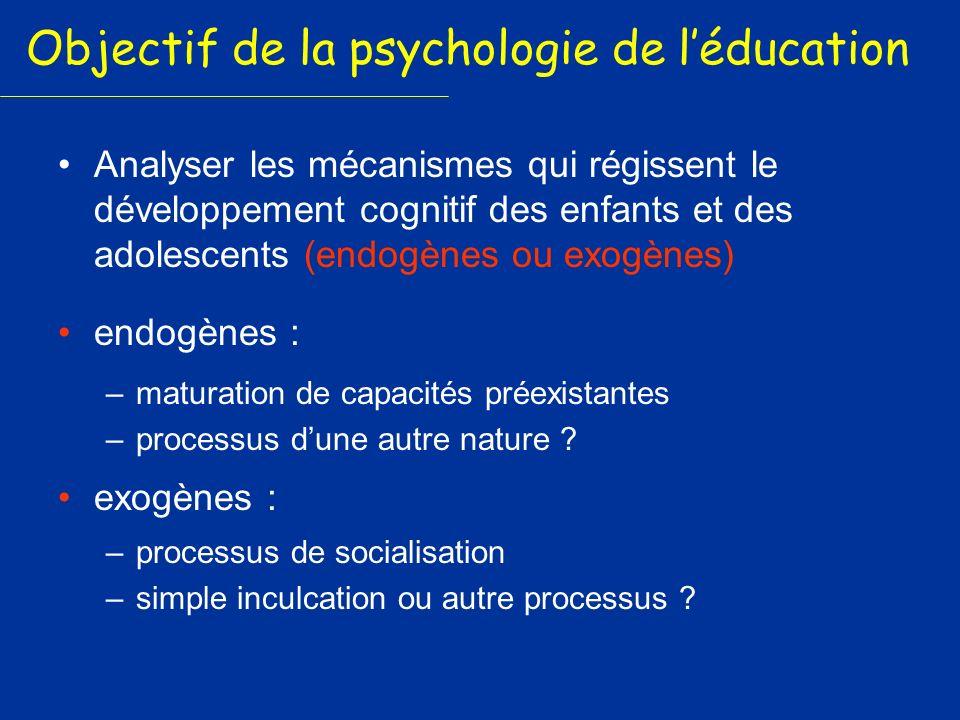 Objectif de la psychologie de léducation Analyser les mécanismes qui régissent le développement cognitif des enfants et des adolescents (endogènes ou