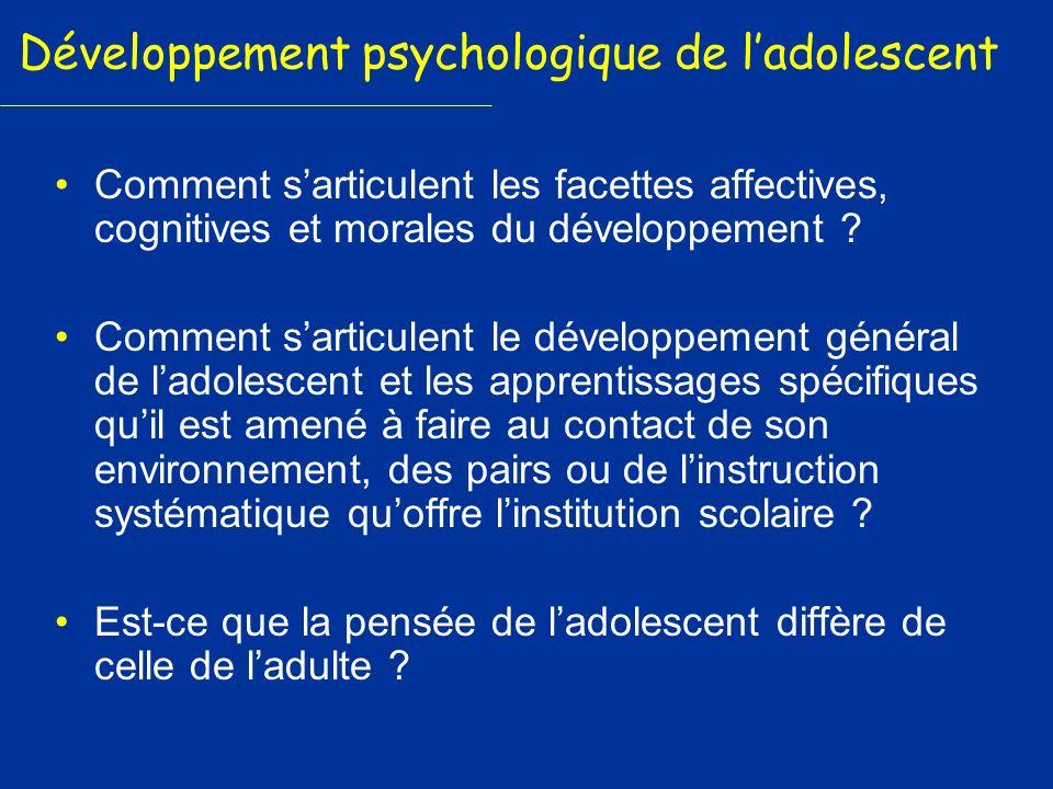 Développement psychologique de ladolescent Comment sarticulent les facettes affectives, cognitives et morales du développement ? Comment sarticulent l