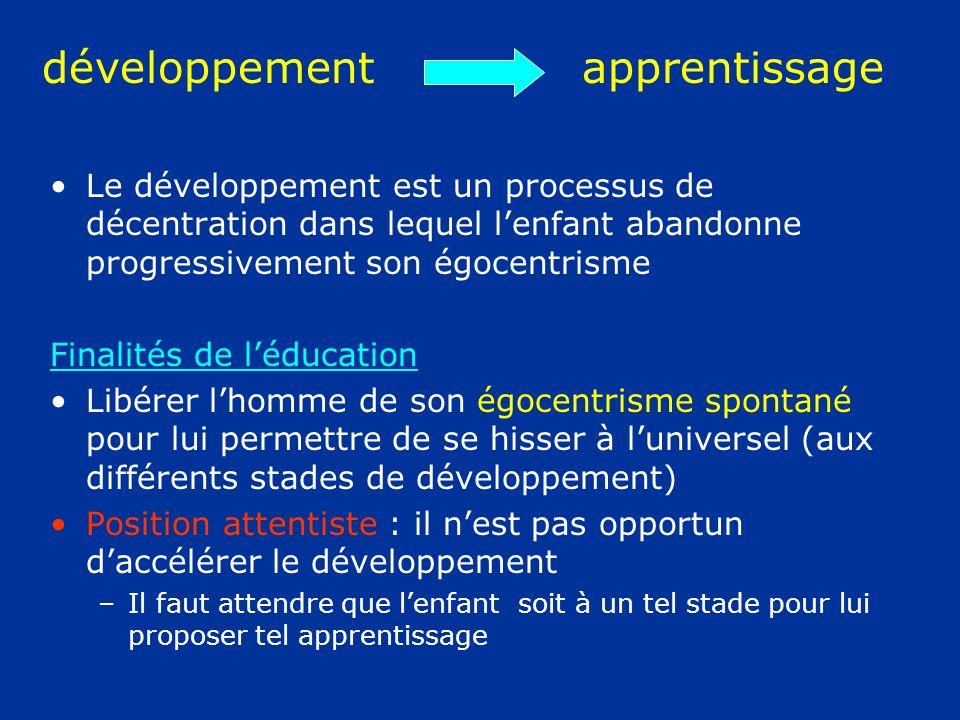 développement apprentissage Le développement est un processus de décentration dans lequel lenfant abandonne progressivement son égocentrisme Finalités