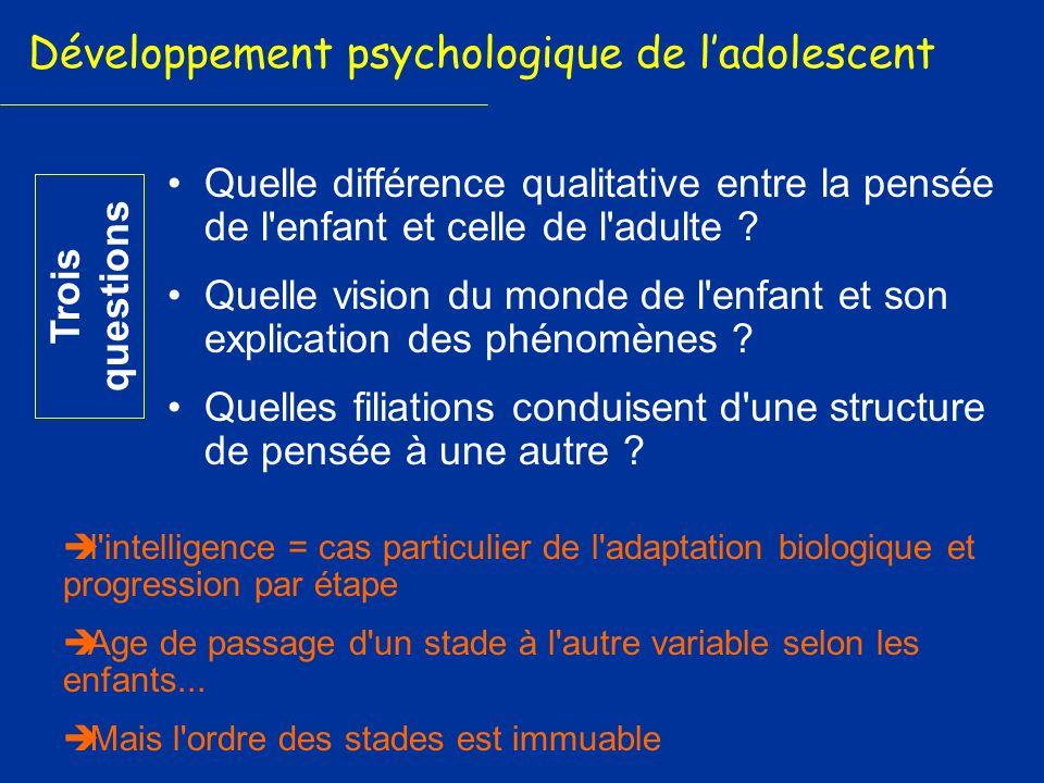 Quelle différence qualitative entre la pensée de l'enfant et celle de l'adulte ? Quelle vision du monde de l'enfant et son explication des phénomènes