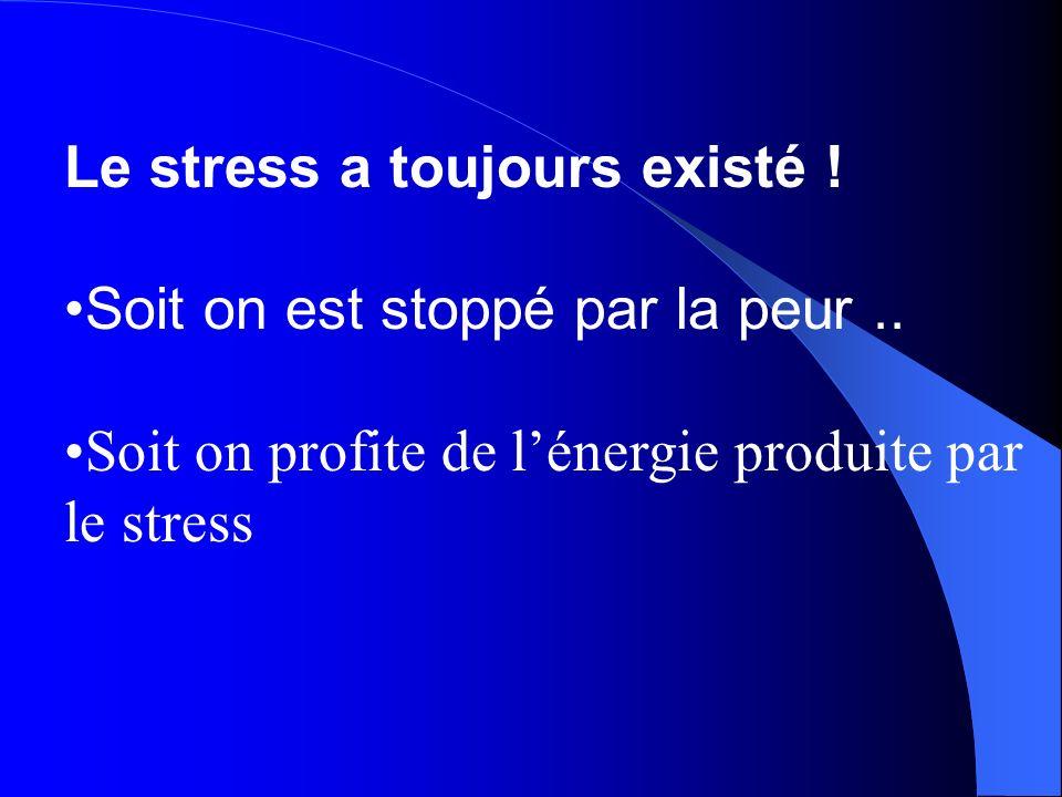 Le stress a toujours existé ! Soit on est stoppé par la peur.. Soit on profite de lénergie produite par le stress