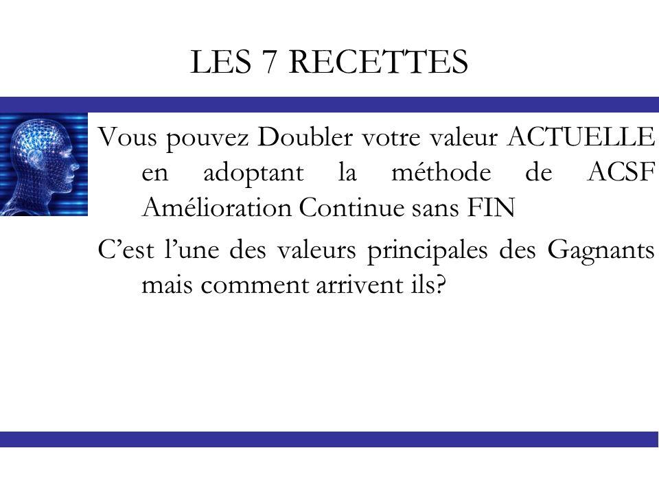 LES 7 RECETTES Vous pouvez Doubler votre valeur ACTUELLE en adoptant la méthode de ACSF Amélioration Continue sans FIN Cest lune des valeurs principal