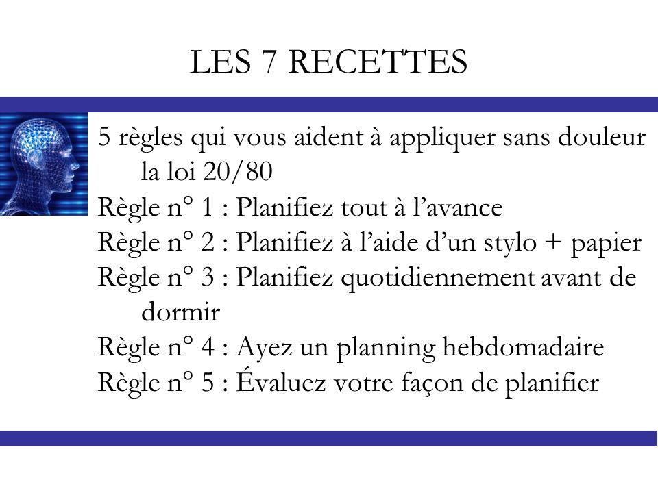 LES 7 RECETTES 5 règles qui vous aident à appliquer sans douleur la loi 20/80 Règle n° 1 : Planifiez tout à lavance Règle n° 2 : Planifiez à laide dun