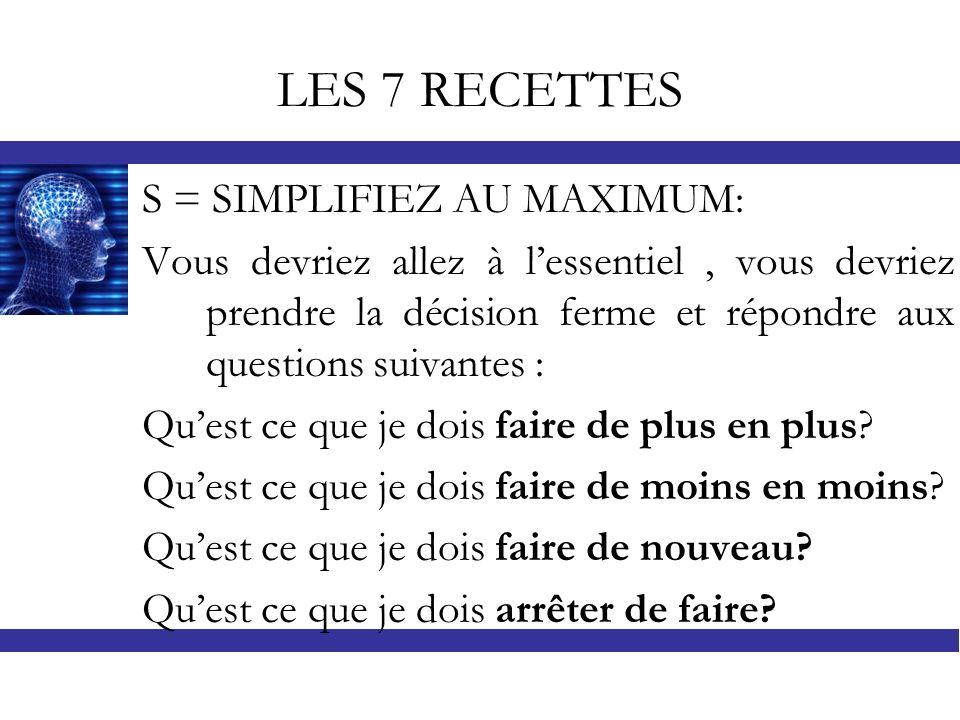 LES 7 RECETTES S = SIMPLIFIEZ AU MAXIMUM: Vous devriez allez à lessentiel, vous devriez prendre la décision ferme et répondre aux questions suivantes