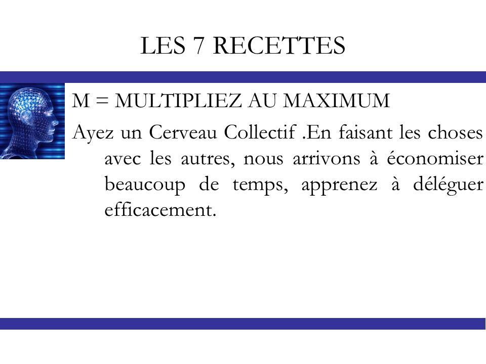LES 7 RECETTES M = MULTIPLIEZ AU MAXIMUM Ayez un Cerveau Collectif.En faisant les choses avec les autres, nous arrivons à économiser beaucoup de temps