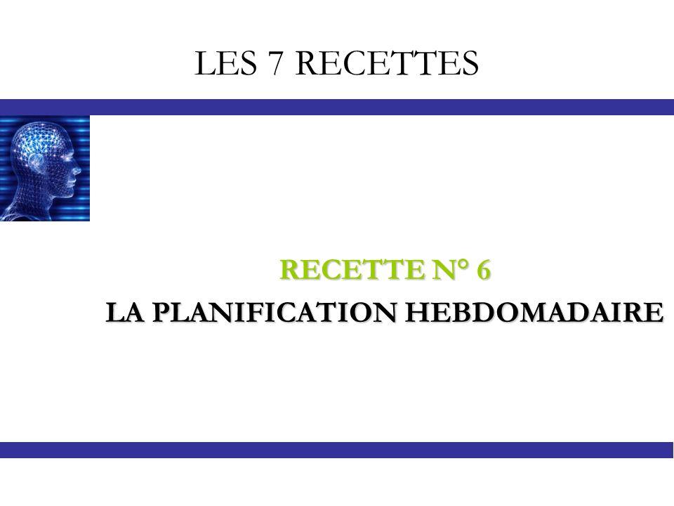 LES 7 RECETTES RECETTE N° 6 LA PLANIFICATION HEBDOMADAIRE