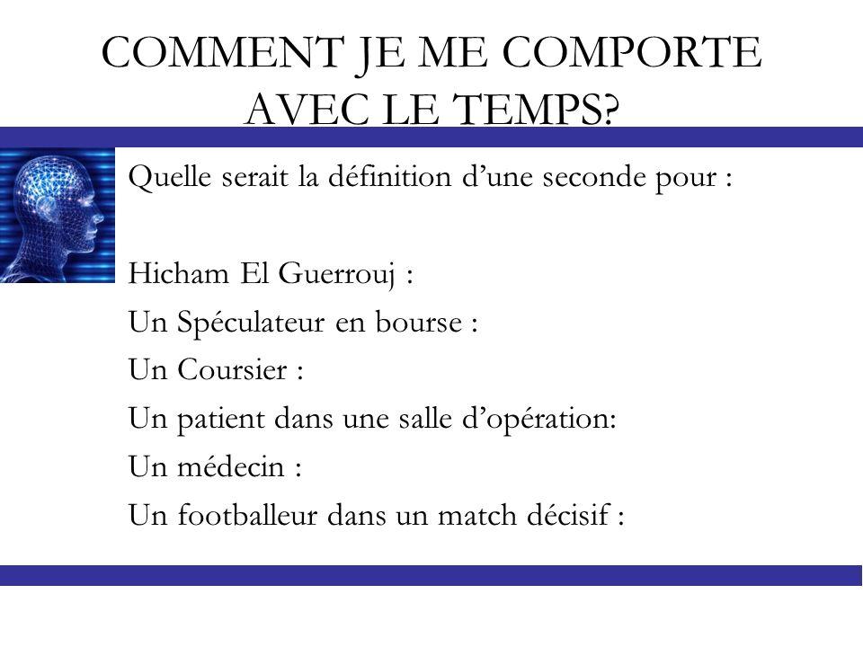 COMMENT JE ME COMPORTE AVEC LE TEMPS? Quelle serait la définition dune seconde pour : Hicham El Guerrouj : Un Spéculateur en bourse : Un Coursier : Un
