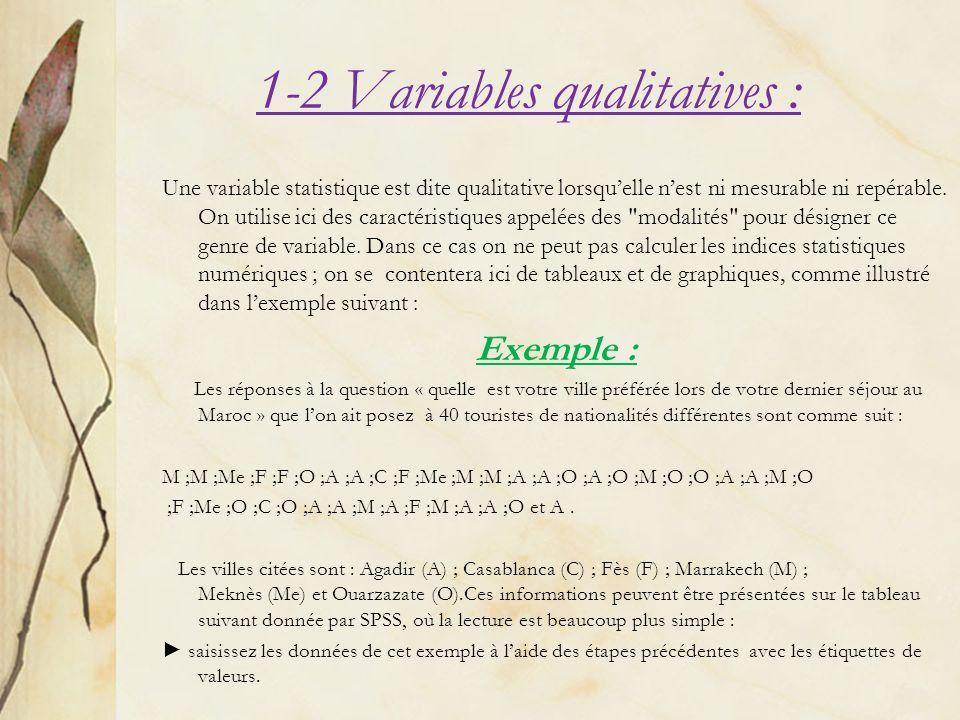 1-2 Variables qualitatives : Une variable statistique est dite qualitative lorsquelle nest ni mesurable ni repérable. On utilise ici des caractéristiq