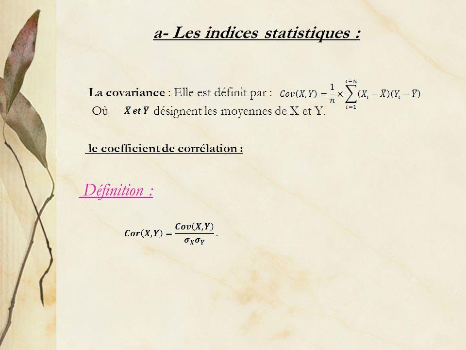 La covariance : Elle est définit par : Où désignent les moyennes de X et Y. le coefficient de corrélation : Définition : a- Les indices statistiques :