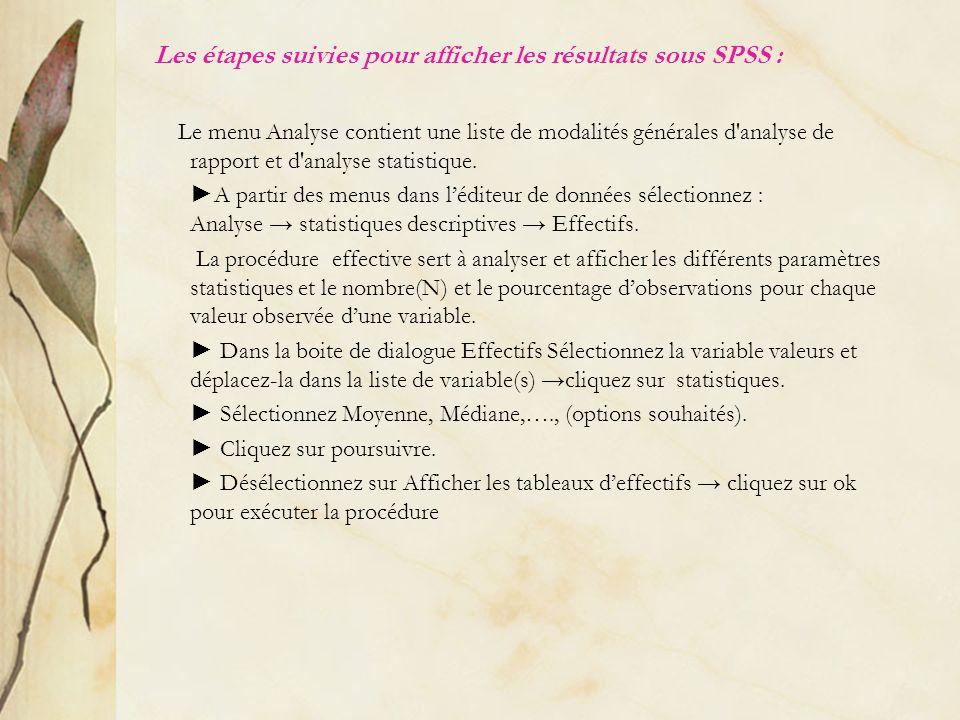 Les étapes suivies pour afficher les résultats sous SPSS : Le menu Analyse contient une liste de modalités générales d'analyse de rapport et d'analyse
