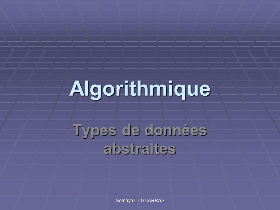 Algorithmique Types de données abstraites Somaya EL GHARRAS