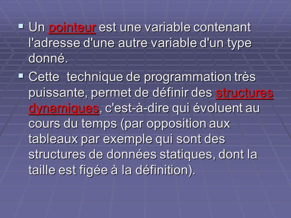 Un pointeur est une variable contenant l'adresse d'une autre variable d'un type donné. Un pointeur est une variable contenant l'adresse d'une autre va
