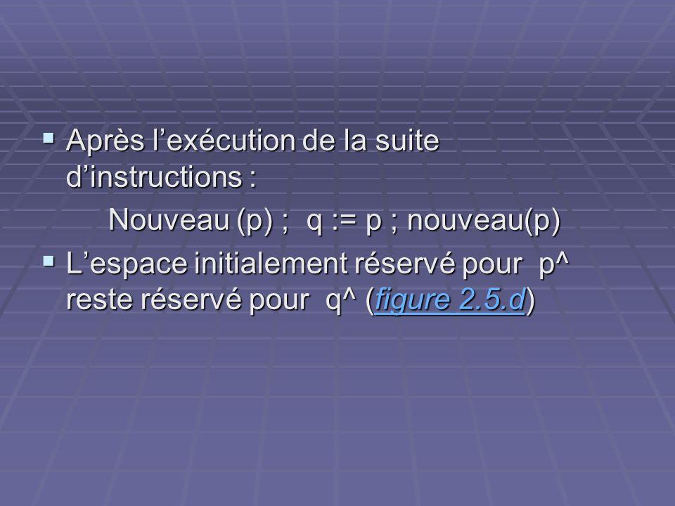 Après lexécution de la suite dinstructions : Après lexécution de la suite dinstructions : Nouveau (p) ; q := p ; nouveau(p) Lespace initialement réser