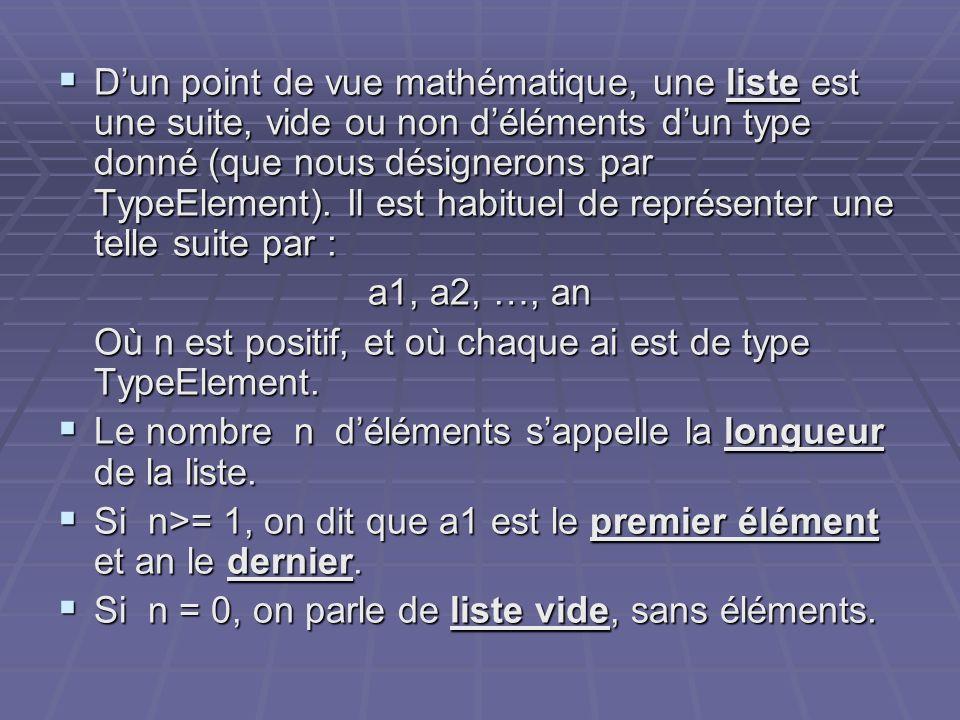 Dun point de vue mathématique, une liste est une suite, vide ou non déléments dun type donné (que nous désignerons par TypeElement). Il est habituel d
