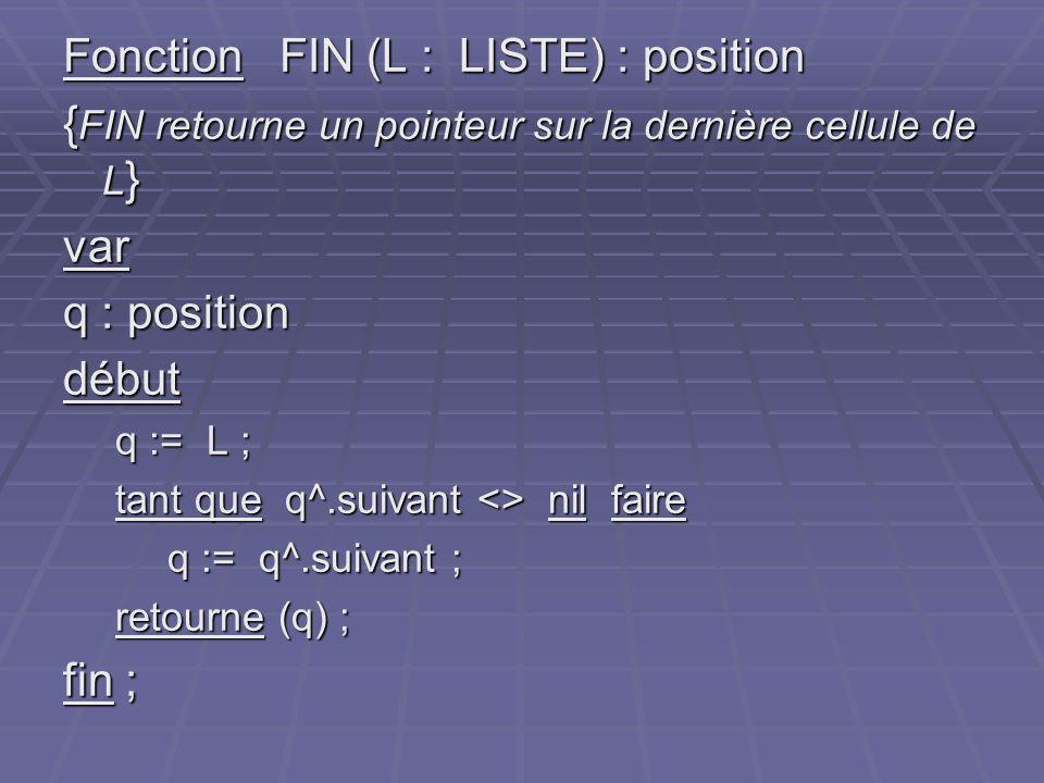 Fonction FIN (L : LISTE) : position { FIN retourne un pointeur sur la dernière cellule de L } var q : position début q := L ; tant que q^.suivant <> n
