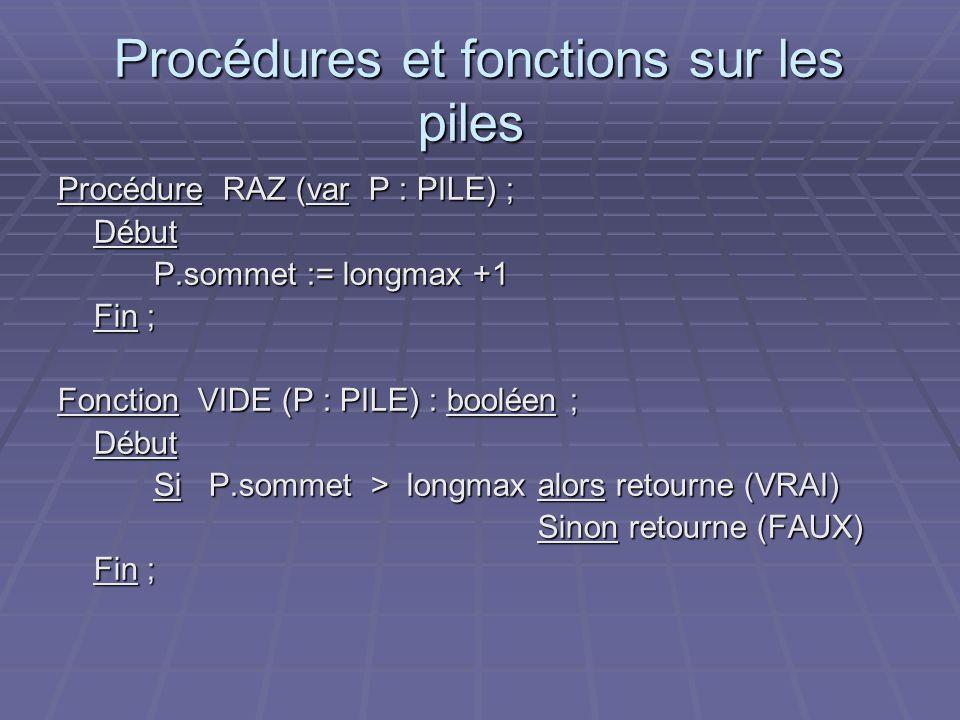 Procédures et fonctions sur les piles Procédures et fonctions sur les piles Procédure RAZ (var P : PILE) ; Début P.sommet := longmax +1 Fin ; Fonction