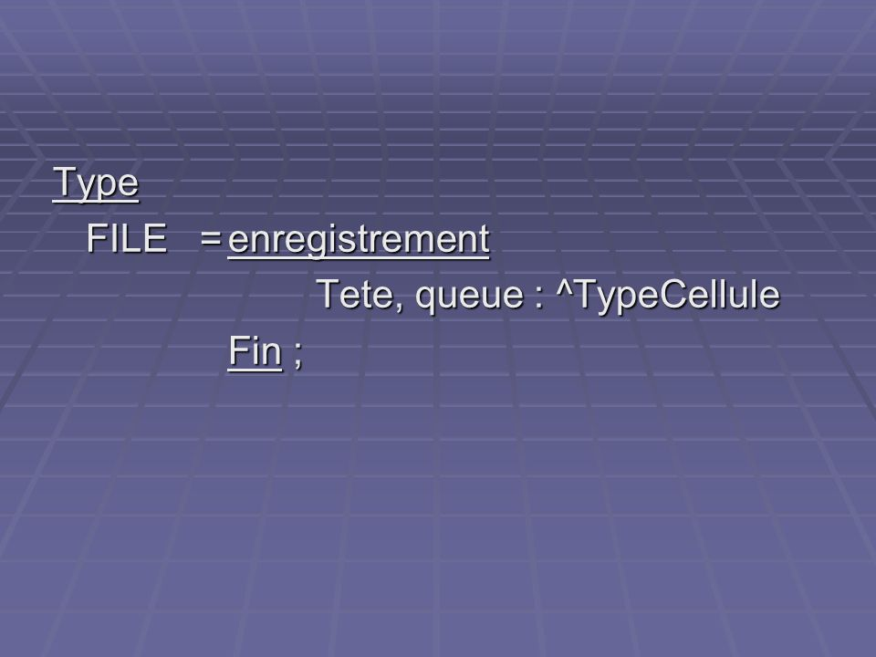 Type FILE =enregistrement Tete, queue : ^TypeCellule Fin ;