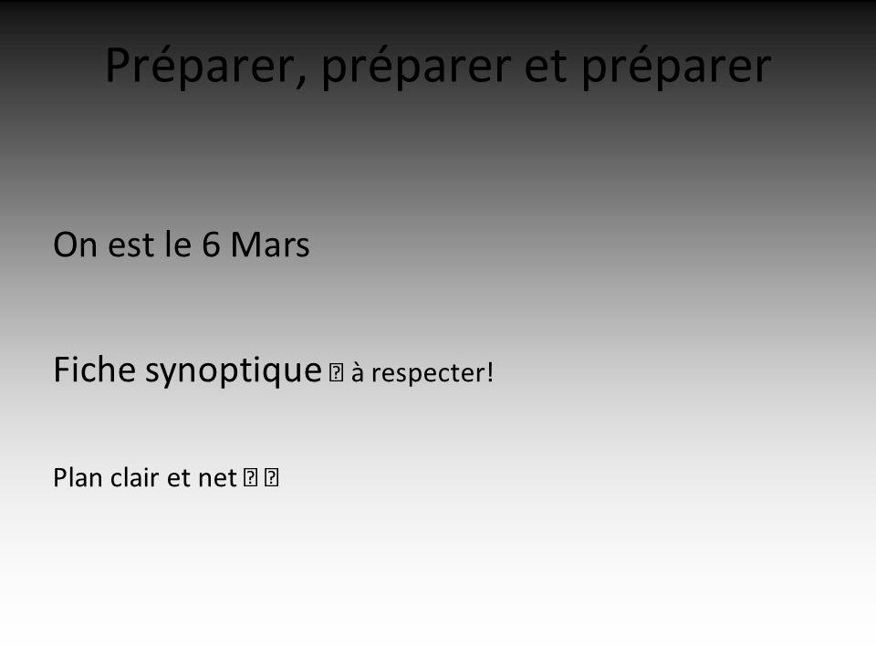 Préparer, préparer et préparer On est le 6 Mars Fiche synoptique à respecter! Plan clair et net