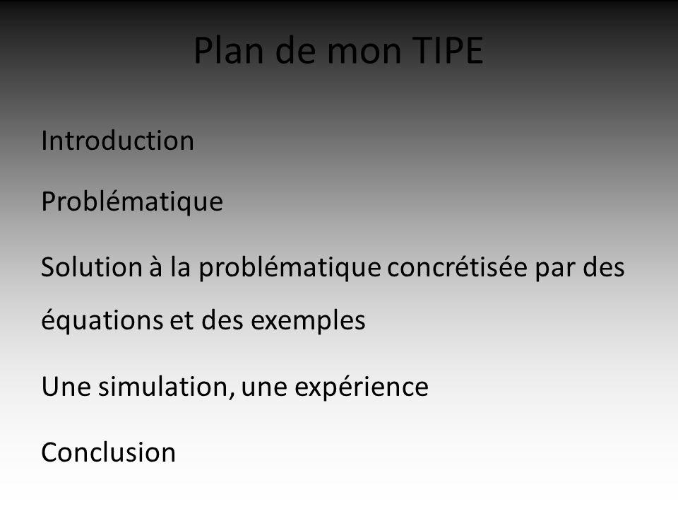 Plan de mon TIPE Introduction Problématique Solution à la problématique concrétisée par des équations et des exemples Une simulation, une expérience Conclusion
